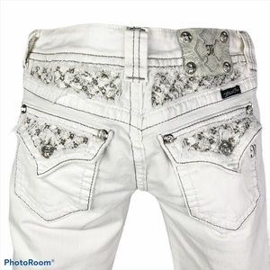 Miss Me White Distressed Bling Skinny Tall Jeans